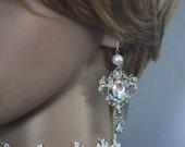 Sale - Victorian chandelier Bridal Earrings  Aurora Borealis AB Crystal Wedding  - Jane