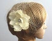 Birdcage veil Vintage inspired Blusher and Detachable Bridal Fascinator Magnolia Wedding Reception - Acelin