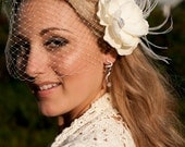 Birdcage veil and Vintage inspired Blusher and Detachable Bridal Fascinator Magnolia Wedding Reception - Evelyn