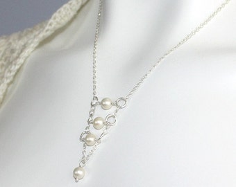 Handmade Bridal  necklace with fresh water pearl sterling silver chain - made to order