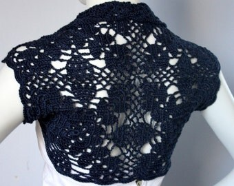 Luxurious Bridal Silk / Cashmere Shrug handknit /crochet wedding bolero Dark Blue Size M