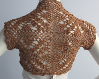 Camel Cashmere blend Shrug hand knit /crochet bolero Size S  -custom choose your color