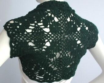 Gorgeous Bridal Silk / Cashmere Shrug handknit /crochet wedding bolero Dark Green size M
