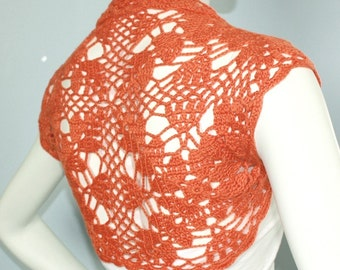 Burnt Orange bridal Bolero Shrug sweater jacket cover-up hand knit crochet for wedding size s, M, L ready to ship