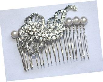 Bridal Hair piece - Rhinestone Swarovski Pearls Wedding Bridal Headpiece