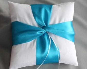 Aqua Blue WHITE Ring Bearer Pillow,  the Lover's Knot Series 01