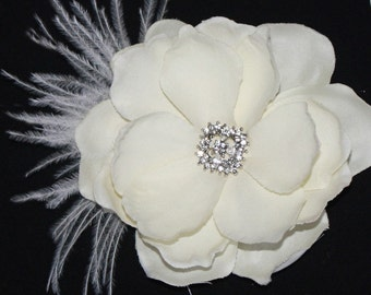 Bridal Hair flower - Ivory Gardenia clip wedding headPiece Fascinator - creme cream Rhinestone hair comb - Valentina