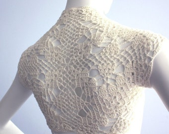 Ivory Cream Silk Bamboo Bolero hand knit crochet Shrug -Bridal Wedding Plus Size XL