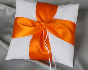 Orange Ivory Ring Bearer Pillows -The Lover's Knot Serie -04