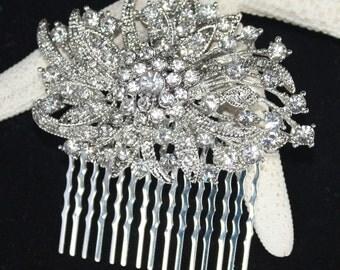 Victorian Rhinestone bridal Hair comb Wedding Bridal Headpiece - Eva