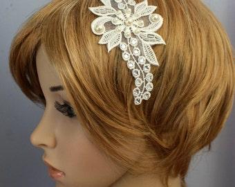 Swarovski Crystal Rhinestone Pearl Lace Headband Bridal Fascinator Wedding Reception