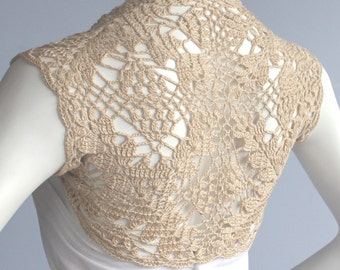 Golden Champagne Bamboo Bolero Eco-Friendly hand knit crochet Shrug Bridal Wedding Plus Size XL