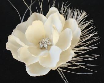 Gardenia Hair flower feather clip comb wedding headPiece  Fascinator - creme cream Rhinestone hair comb