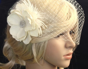 Ivory Bridal veil vail and Vintage inspired detachable hair flower Fascinator Blusher Wedding Reception - Evelyn