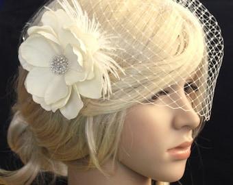 Bridal Birdcage veil Blusher and flower (Evelyn)  - 2 items