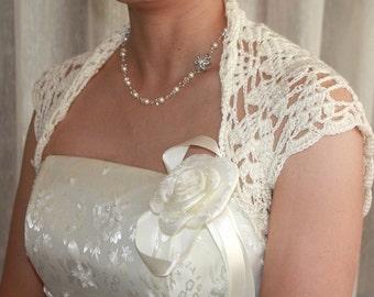 Custom - luxurious  Bridal Silk / Cashmere Shrug handknit /crochet wedding bolero Ivory Cream Size L Made to order