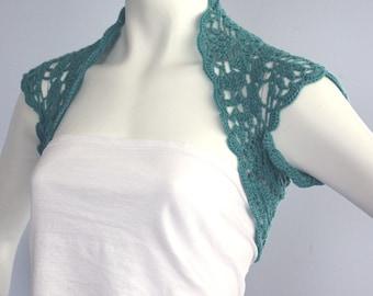 Turquoise Hand crocheted Cashmere blend Shrug bolero size s custom 11 colors