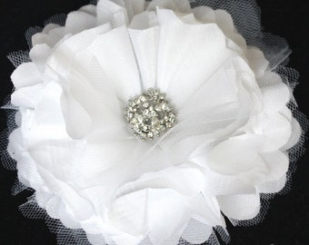 White Peony Crystal Hair Flower comb / Clip wedding head Piece Large - Janice