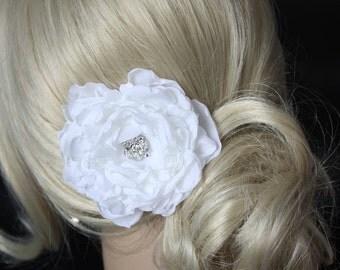 White Peony Crystal Hair Flower comb / Clip wedding head Piece - Jean,  On Sale