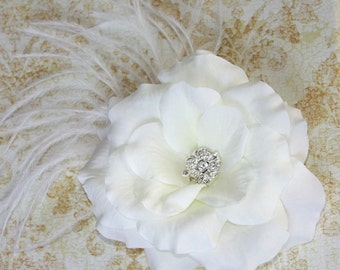 Bridal Fascinator light cream rose with feathers - Vivien