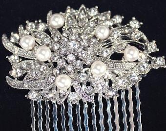 Rhinestone Hair comb,  Victorian bridal rhinestone hair comb  Swarovski Crystal Pearls - Elizabeth