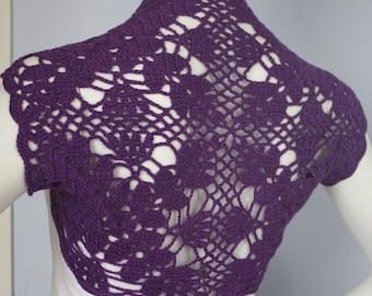 dark Purple lacy bridal bolero Shrug crocheted silk cashmere -Size S, M, L