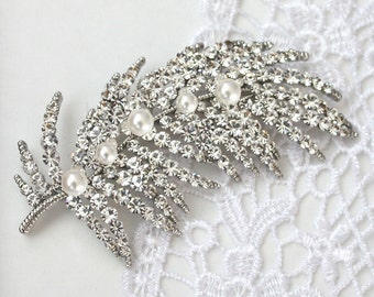 Bridal Rhinestone Feather Brooch Hair comb ON SALE
