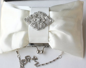 Bridal Clutch - Ivory satin with Crystal brooch - Karis