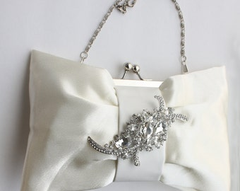 Bridal Clutch - Ivory satin with Swarovski Crystal brooch - Kasey