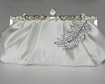 Bridal Clutch - silver-ivory satin with Swarovski Crystal feather brooch