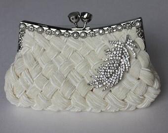 Bridal Clutch - Ivory satin with Swarovski Crystal feather brooch - bridal handbag - bridal purse - made to order