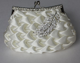 Bridal Clutch - Ivory satin with Swarovski Crystal feather brooch