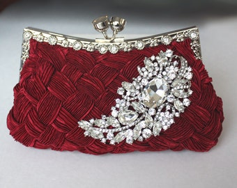 Burgundy Bridal Clutch - satin purse w/  Swarovski big Crystal feather brooch