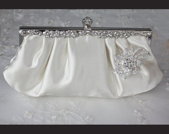 Bridal Clutch - Ivory satin with Swarovski Crystal brooch