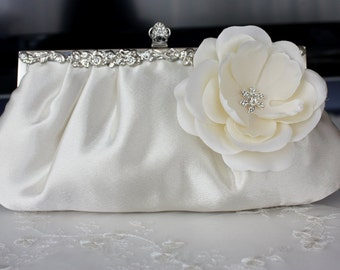 Ivory satin bridal blutch purse with flower