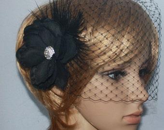 Bridal Birdcage veil Blusher and Detachable  Fascinator  (2 items) Wedding Reception - Evelyn - Black