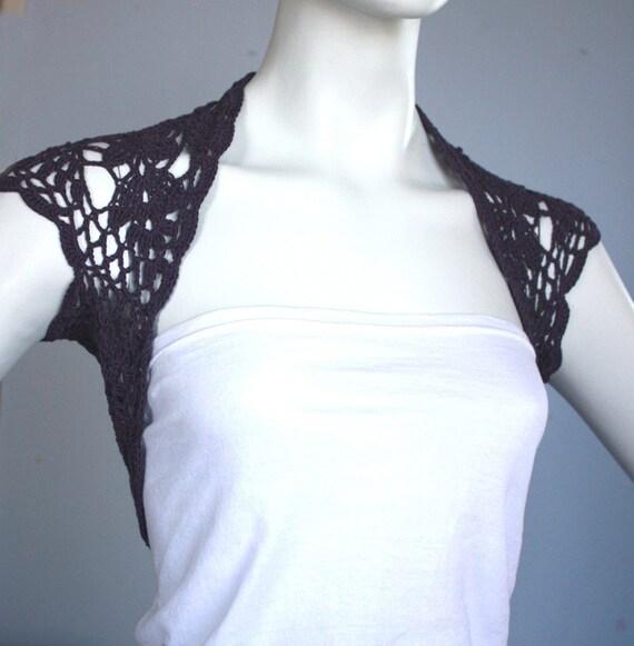 Dark dusty purple bamboo shrug bolero Handknit \/crochet  ready to ship custom available  11 colors