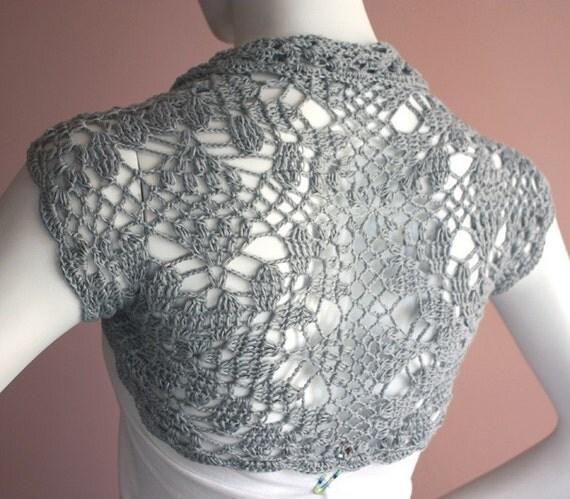 Bridal Silk Bamboo Shrug hand knit /crochet bolero silver grey gray custom 12 colors