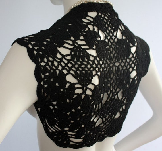 Black Silk Bamboo Shrug hand knit /crochet Lacy Lace bridal bolero wedding reception  -custom 12 colors