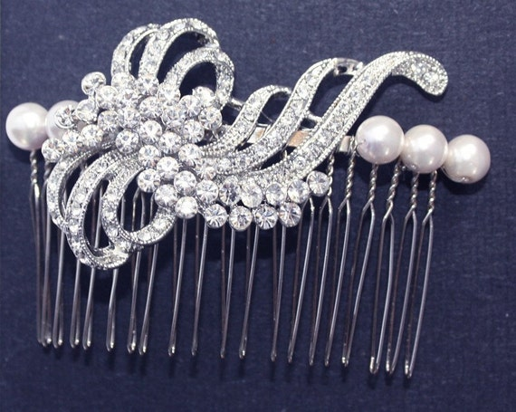 Rhinestone Swarovski Pearls Bridal Hair comb Wedding Bridal Headpiece - Dawn
