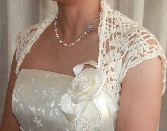 Luxurious Bridal Silk / Cashmere Shrug hand knit  /crochet wedding bolero Ivory Cream Size S and M - Daphne