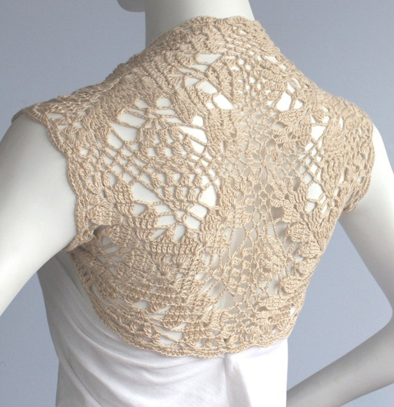 Golden Champagne Bamboo Bolero Eco-Friendly hand knit crochet Shrug Bridal Wedding Size L