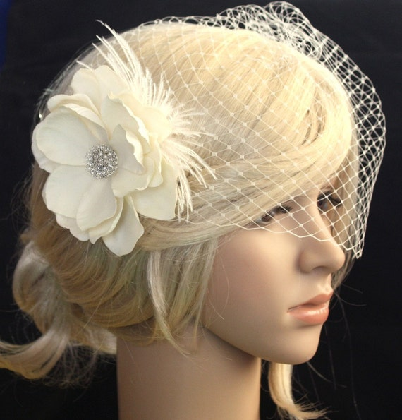 Ivory Bridal Veil Vail And Vintage Inspired Detachable Hair