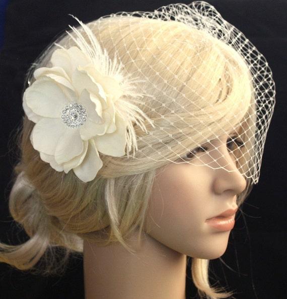Elaine - Vintage inspired Birdcage Veil and  Detachable Bridal Fascinator Blusher  hair flower Wedding Reception