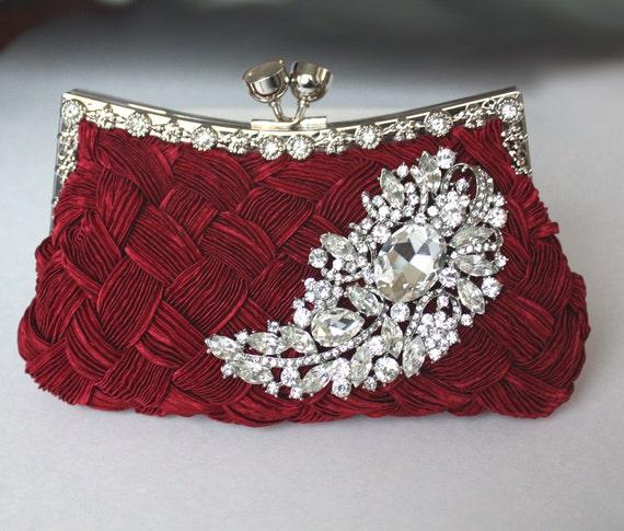 Burgundy Bridal Clutch satin purse w/ Swarovski big Crystal