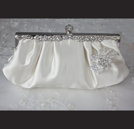Bridal Clutch - Ivory satin with Swarovski Crystal brooch