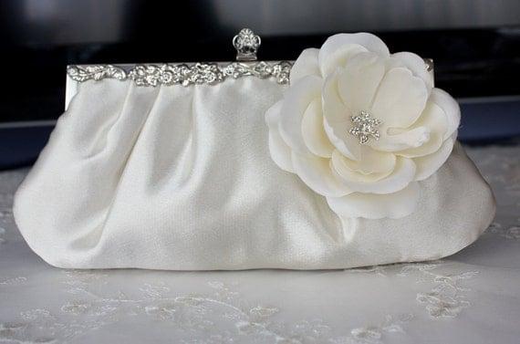 Ivory satin bridal blutch purse with flower