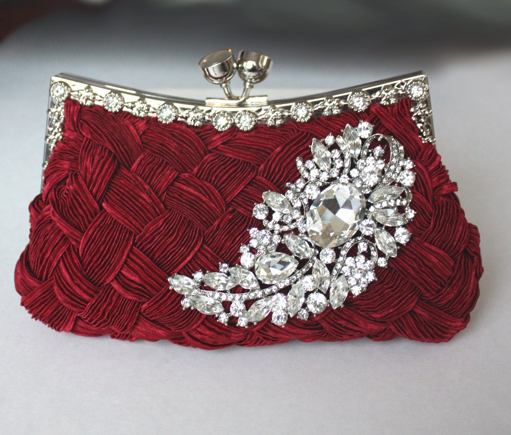Wedding Clutch: Burgundy Bridal Clutch Satin Purse W/ Swarovski Big Crystal