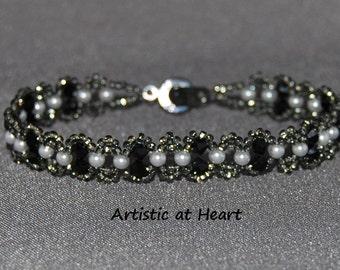 Black & White Crystal Chain Bracelet