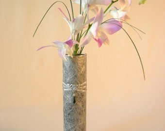 Shades of Silver Decoupaged Vase